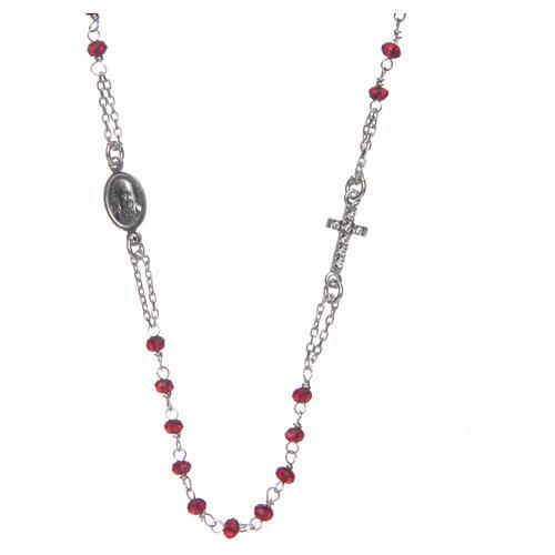 Collana rosario girocollo AMEN pavè cristalli corallo arg 925 Rosè 1