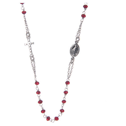 Collana rosario girocollo AMEN pavè cristalli corallo arg 925 Rosè 2