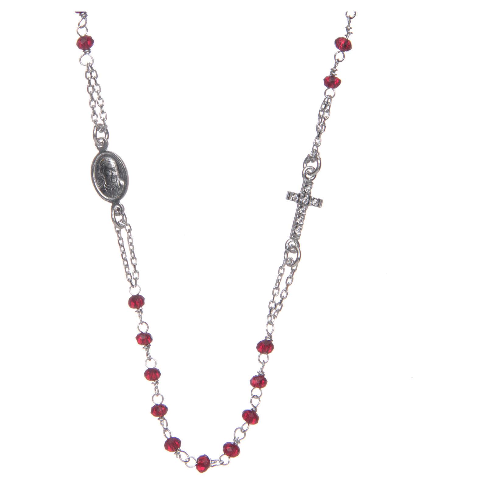 Naszyjnik różaniec na szyję AMEN pave kryształki koral srebro 925 Rose 4