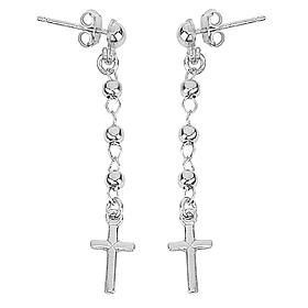 Earrings Rosary cross AMEN silver 925, Rhodium s1