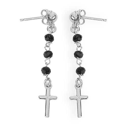 Orecchini rosario croce AMEN cristalli neri arg 925 Rodio 1