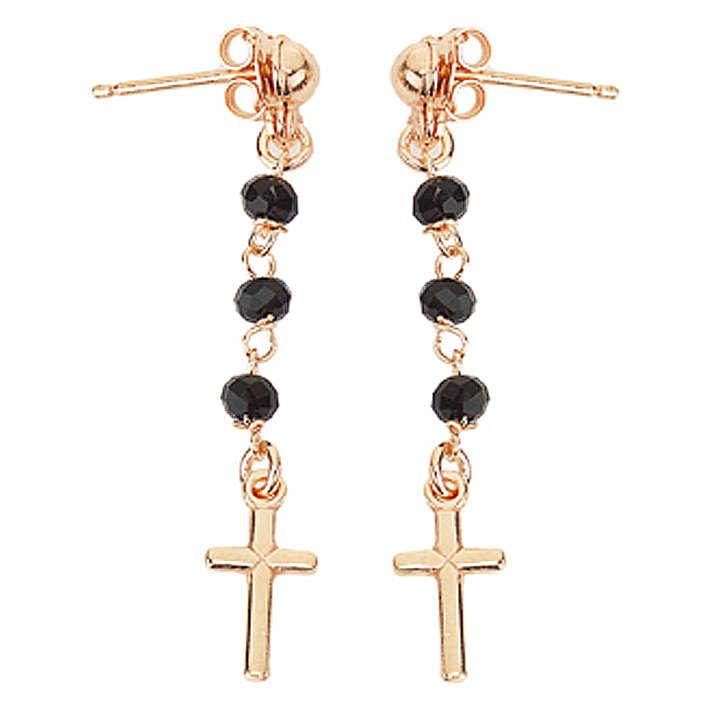 Boucles chapelet croix AMEN cristaux noirs arg 925 rosé 4