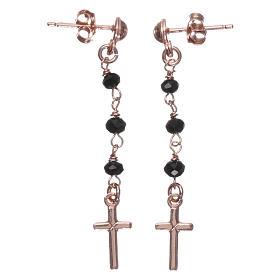 Boucles chapelet croix AMEN cristaux noirs arg 925 rosé s1