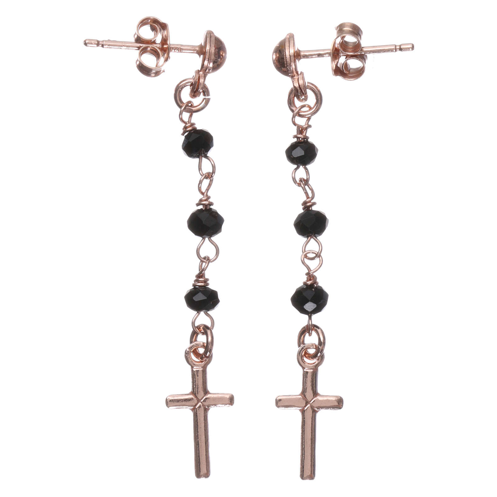 Orecchini rosario croce AMEN cristalli neri arg 925 Rosè 4