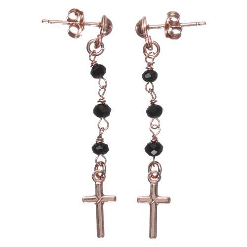 Orecchini rosario croce AMEN cristalli neri arg 925 Rosè 1
