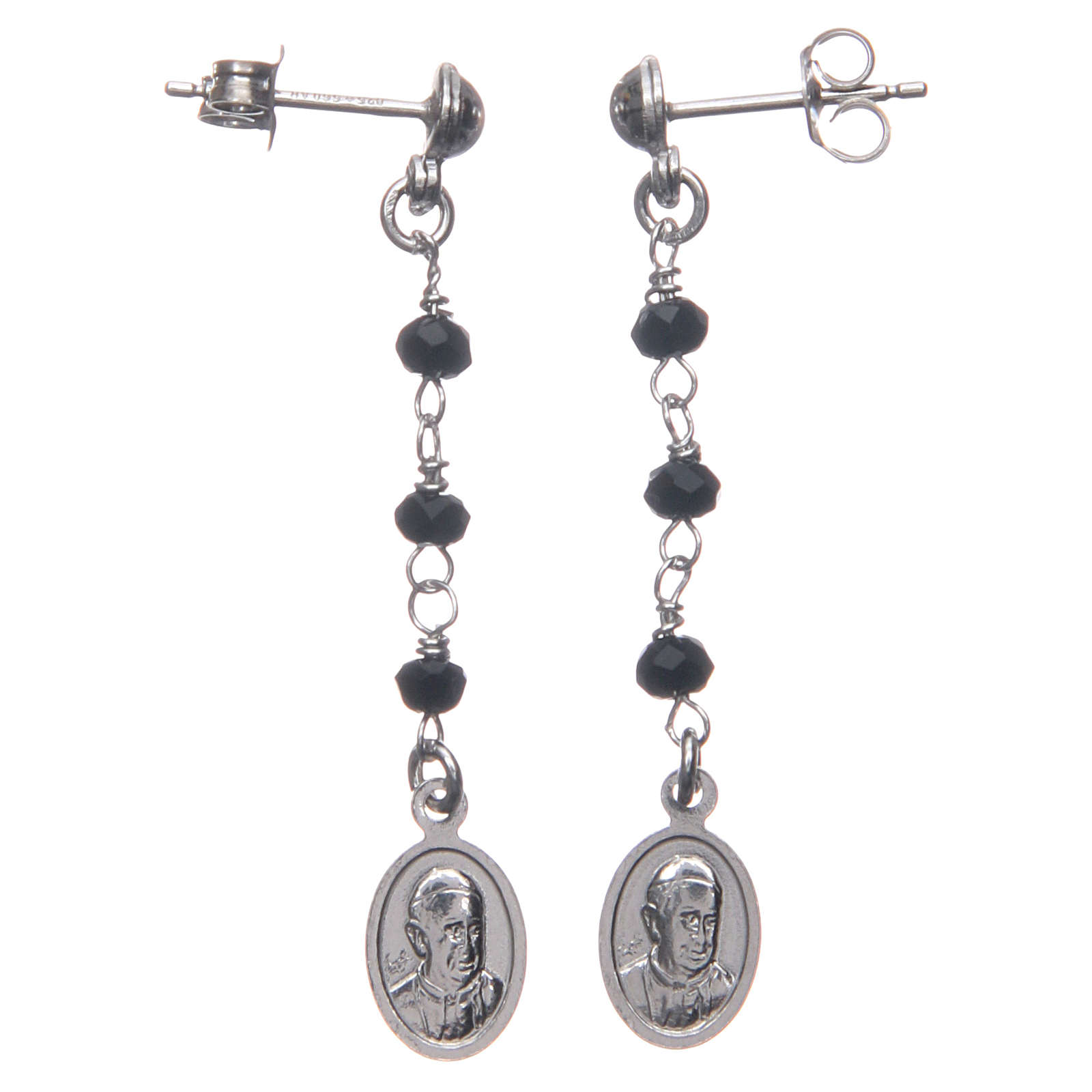 Earrings AMEN Miraculous black crystals silver 925, Rhodium 4