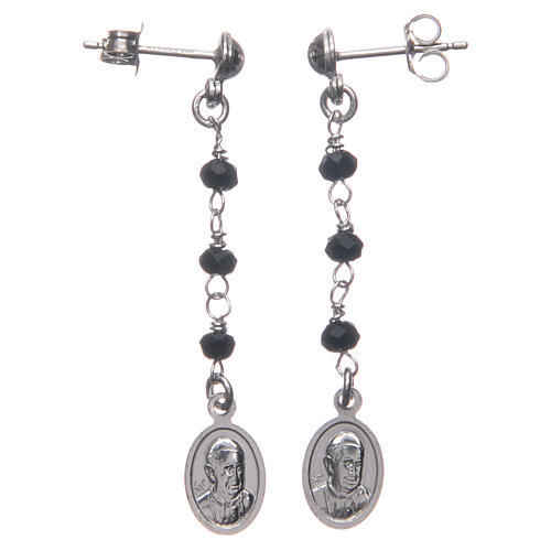 Earrings AMEN Miraculous black crystals silver 925, Rhodium 2