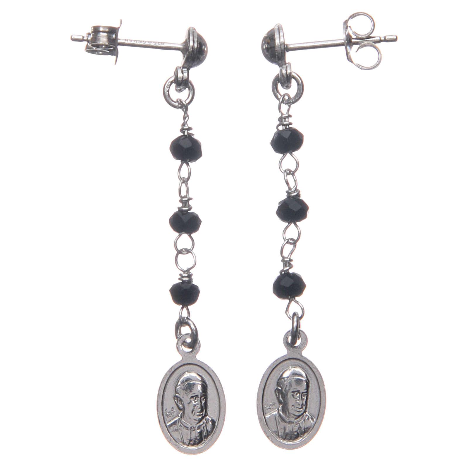 Orecchini rosario AMEN Miracolosa cristalli neri arg 925 Rodio 4