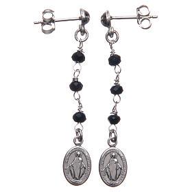 Orecchini rosario AMEN Miracolosa cristalli neri arg 925 Rodio s1