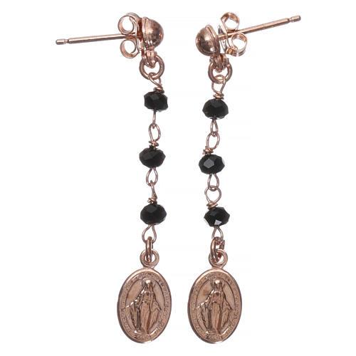 Orecchini rosario AMEN Miracolosa cristalli neri arg 925 Rosè 1