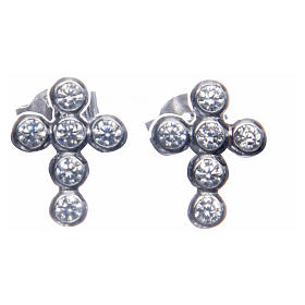 Earrings AMEN Boules zircons, Rhodium s1