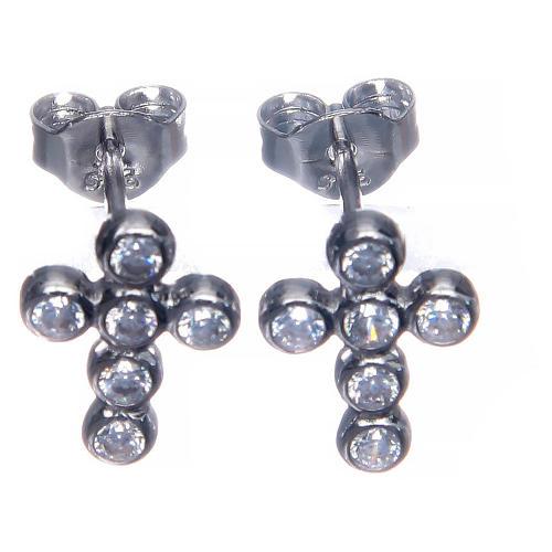 Earrings AMEN Boules zircons, Rhodium 2