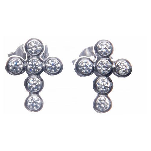 Earrings AMEN Boules zircons, Rhodium 1
