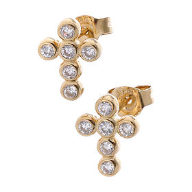 Pendants, crosses and pins: Earrings AMEN Boules zircons, Gold
