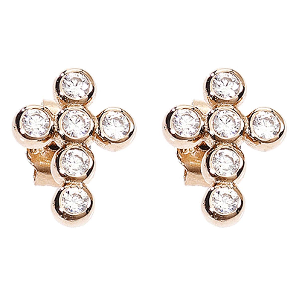 Earrings AMEN Boules zircons, Rosè 4