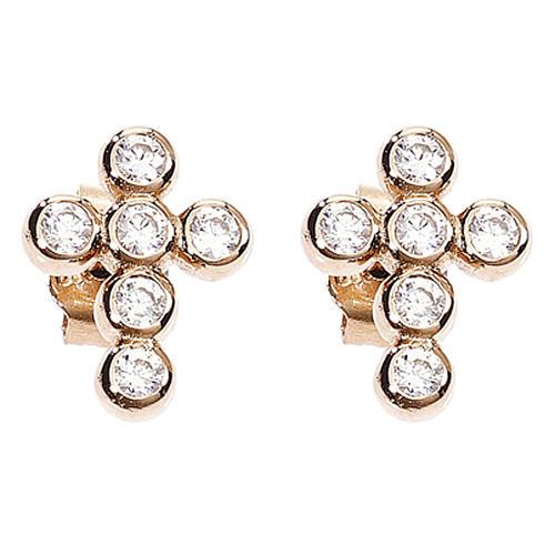 Earrings AMEN Boules zircons, Rosè 1