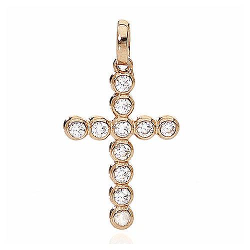 Colgante Cruz AMEN Boules Circones acabado Rosado 1