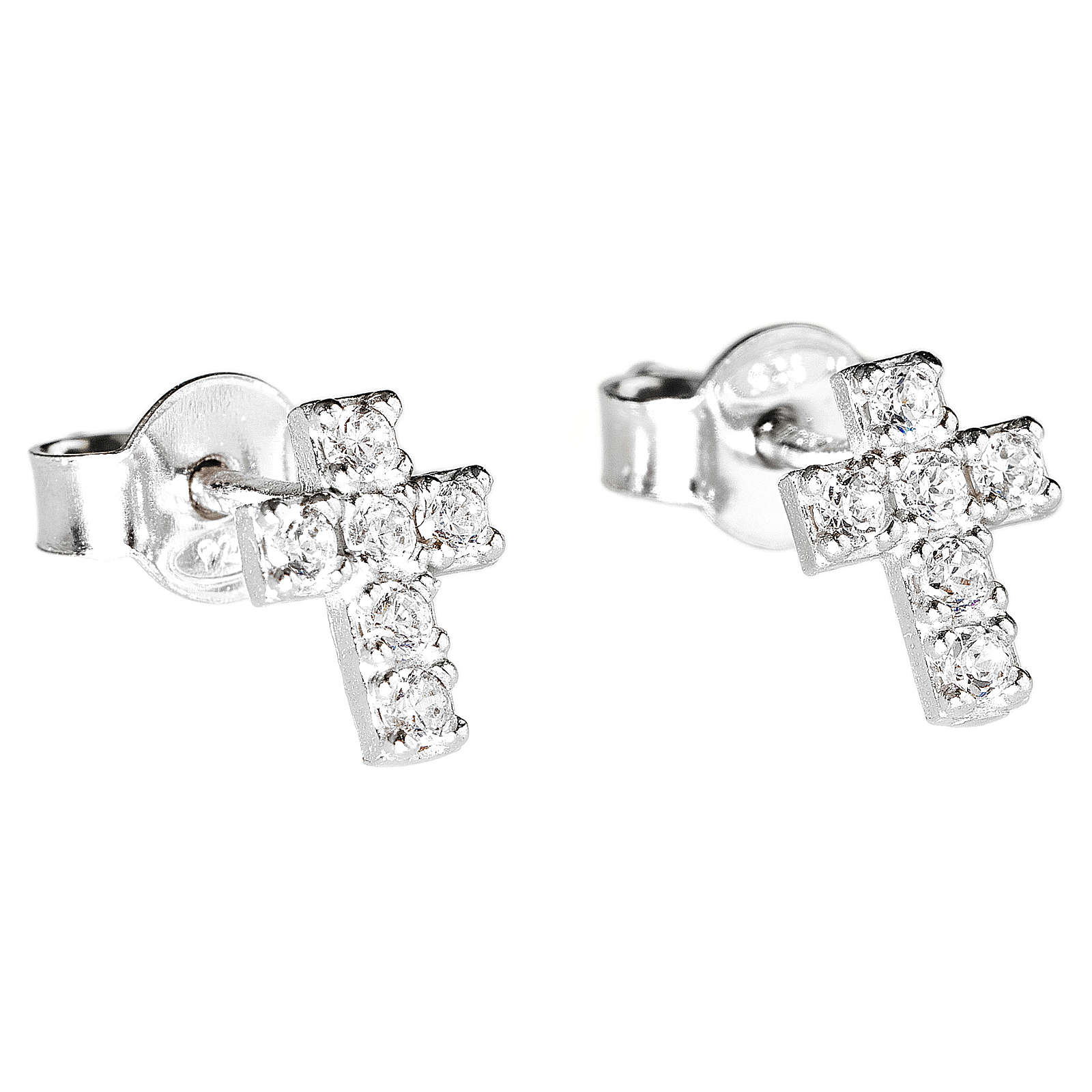 Orecchini AMEN croce argento 925 zirconi bianchi 4