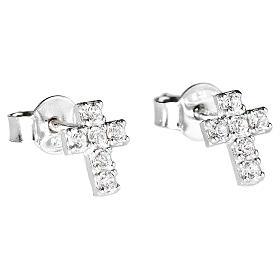 Orecchini AMEN croce argento 925 zirconi bianchi s1