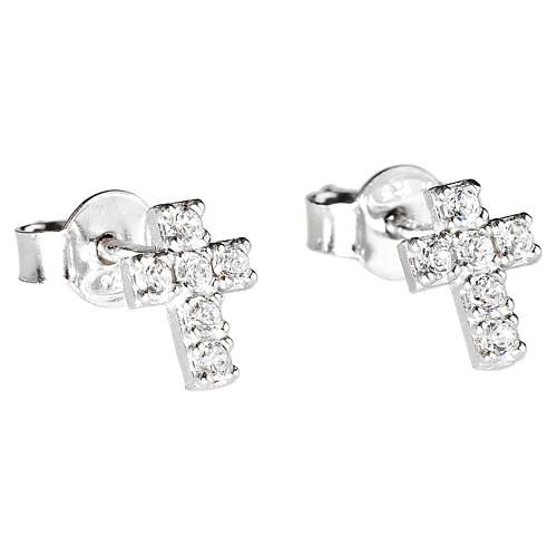 Orecchini AMEN croce argento 925 zirconi bianchi 1