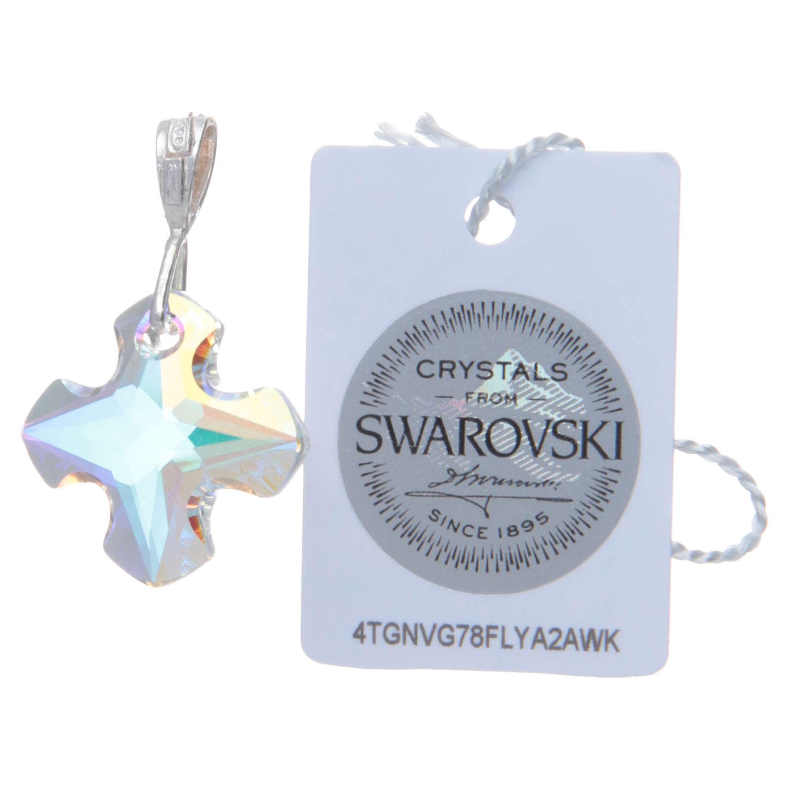 Croce cristallo Swarovski bianco e Argento 2x2 cm 4