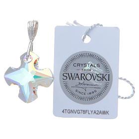 Croce cristallo Swarovski bianco e Argento 2x2 cm s2