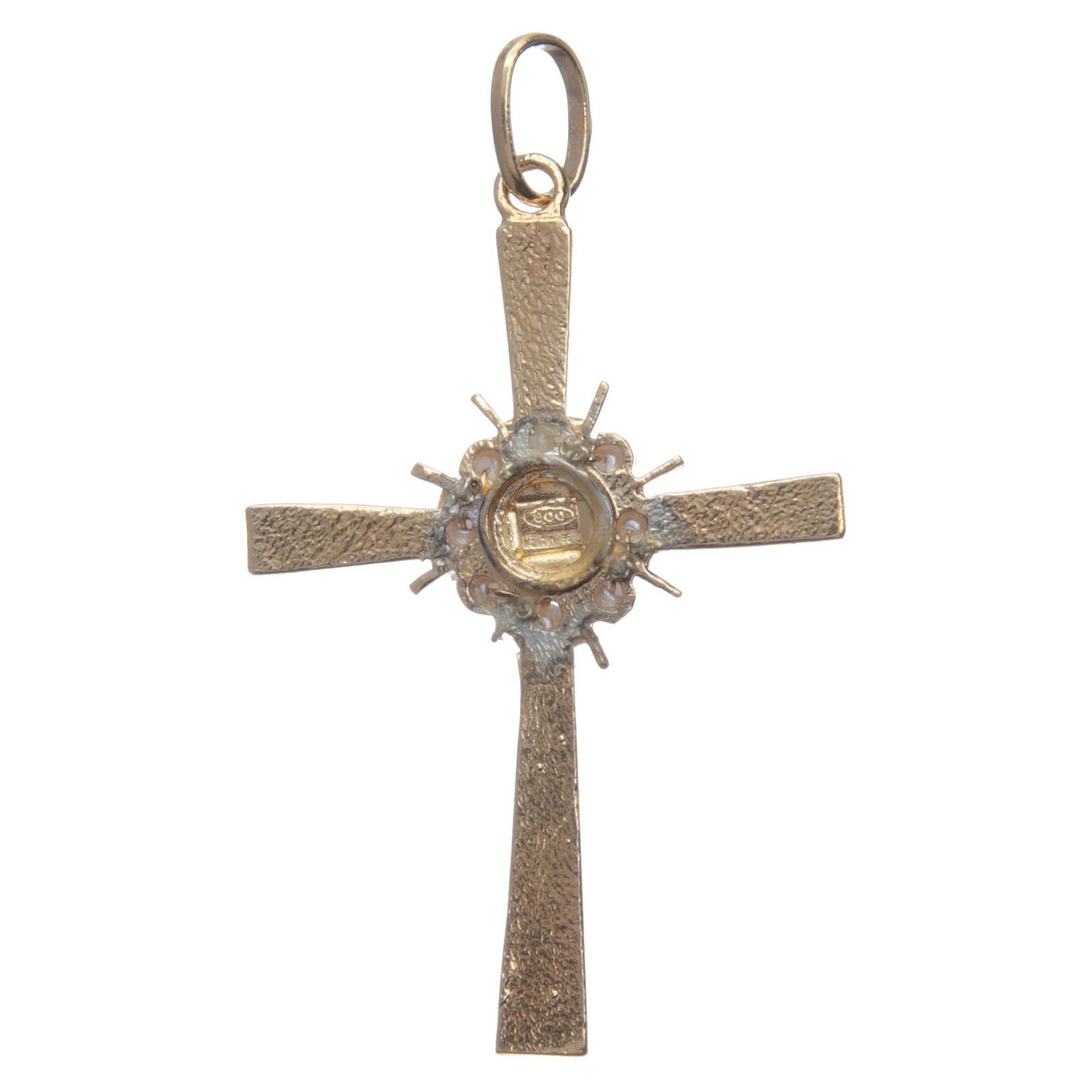Croce dorata e raggiera Argento 800 4
