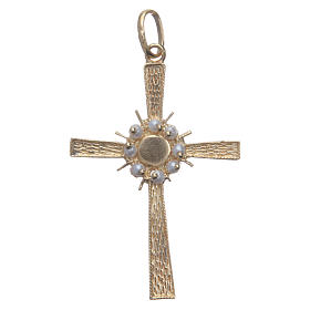 Pingentes, Cruzes, Broches, Correntes: Cruz dourada e raios prata 800