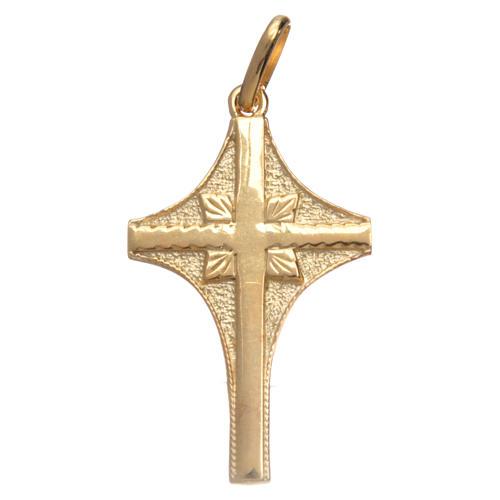 Croce in argento dorato doppia finitura 3x2 cm 1
