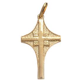 Pingentes, Cruzes, Broches, Correntes: Cruz em prata dourada acabamento misto 3x2 cm