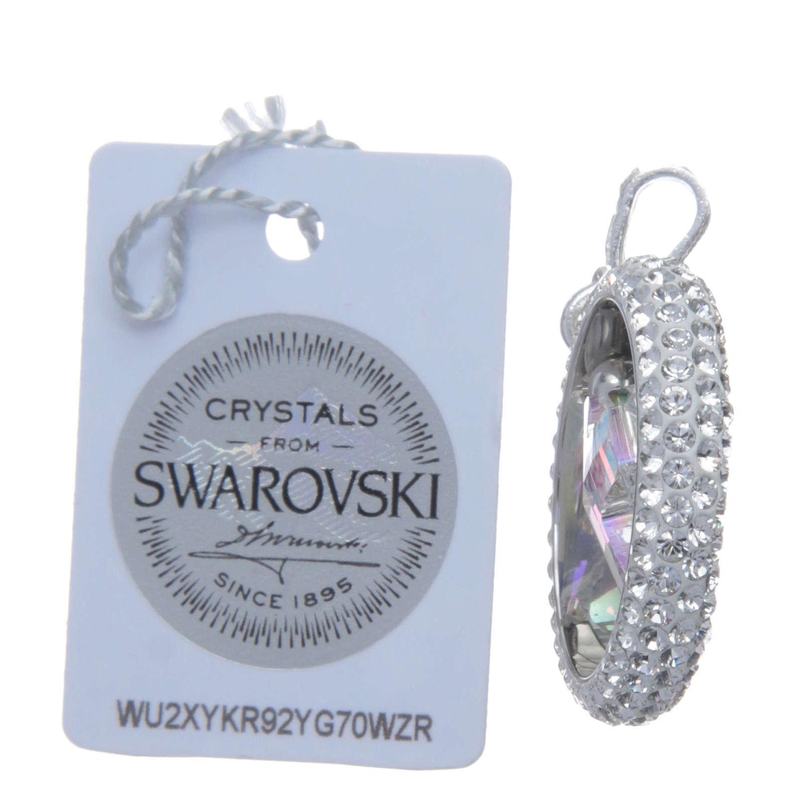Pendente anello pavè e croce Swarovski Argento 925 4
