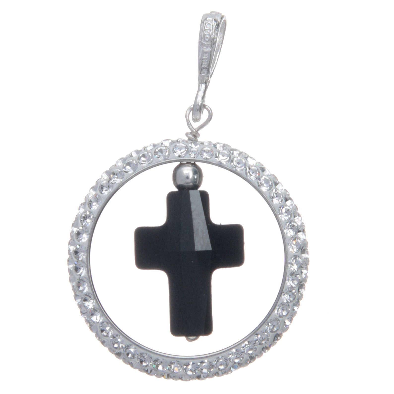 Charm With Sett Ring And Black Swarovski Cross In Sterling