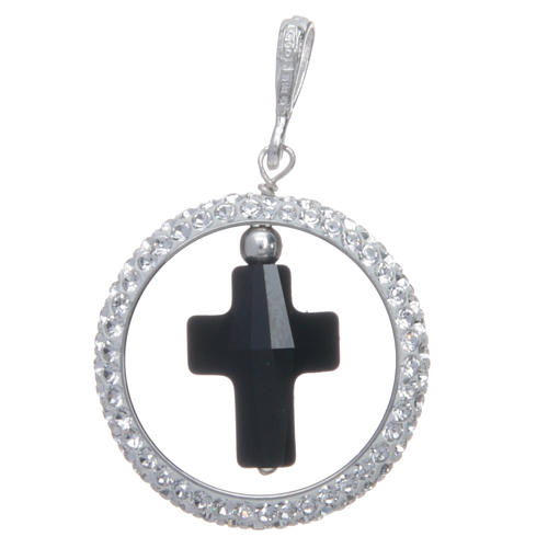 Pendentif cercle pavage et croix noire en Swarovski argent 925 1