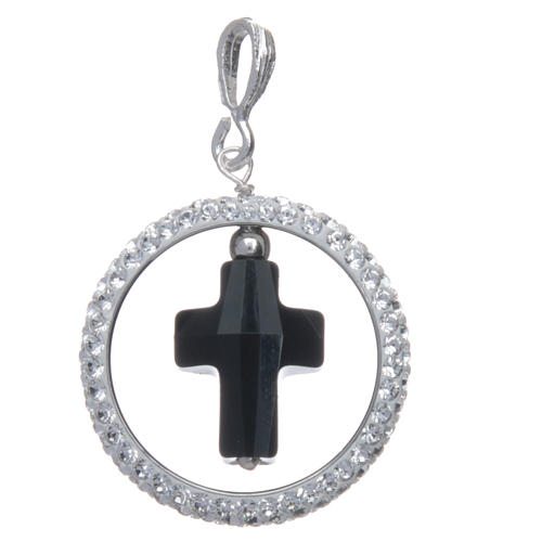 Pendentif cercle pavage et croix noire en Swarovski argent 925 2