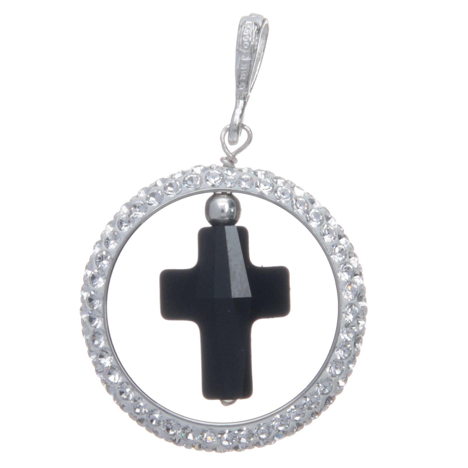 Pendente cerchio pavè e croce nera in Swarovski e Arg. 925 4