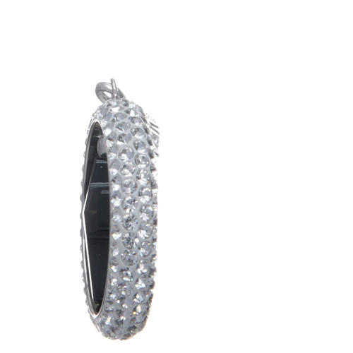 Charm with sett ring and black Swarovski cross in sterling silver 3