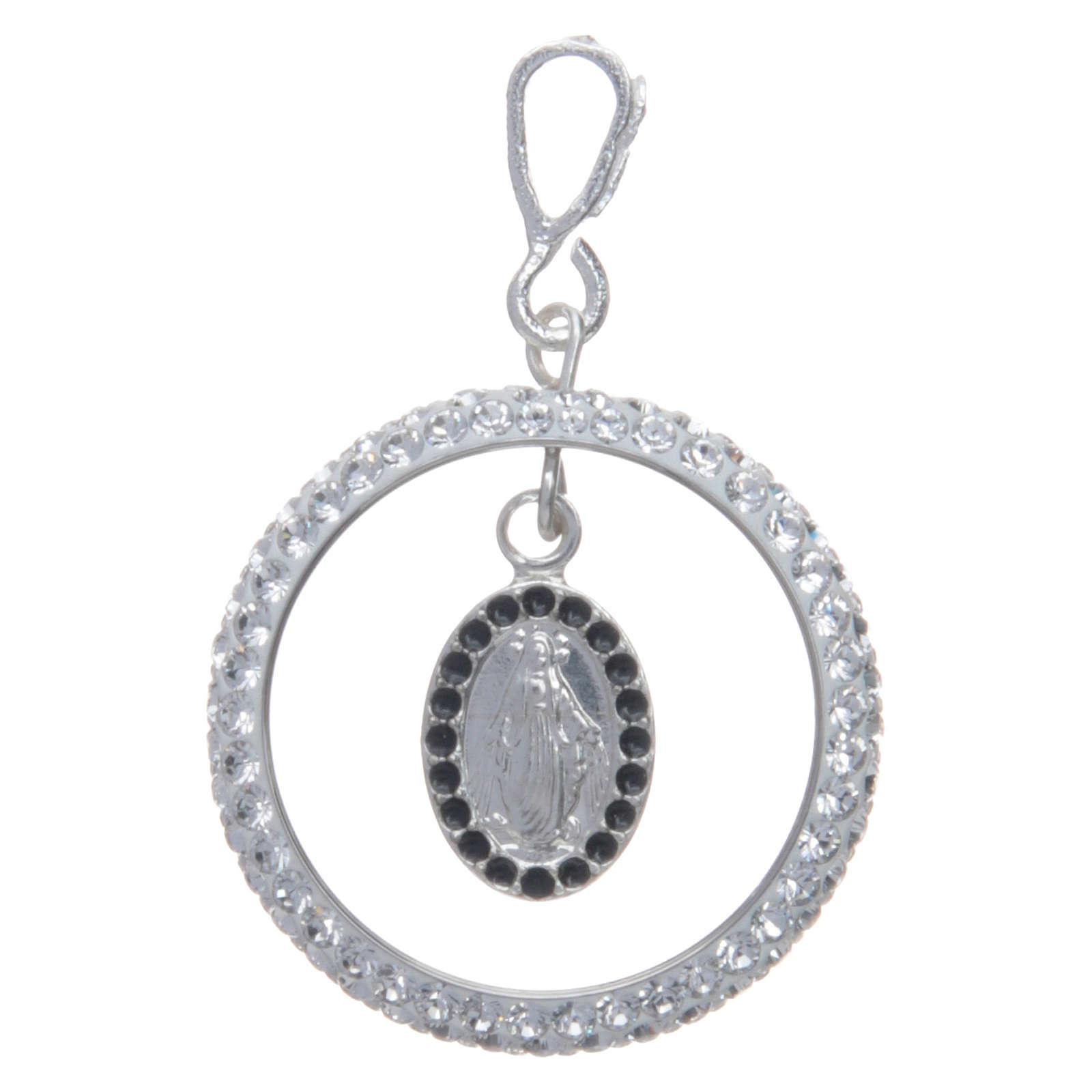 Charm with sett ring and Miraculous Medal in sterling silver 4