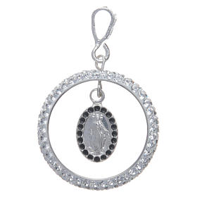 Charm with sett ring and Miraculous Medal in sterling silver s1