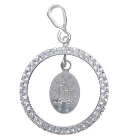 Charm with sett ring and Miraculous Medal in sterling silver s2