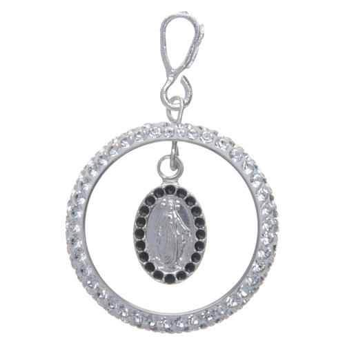 Charm with sett ring and Miraculous Medal in sterling silver 1