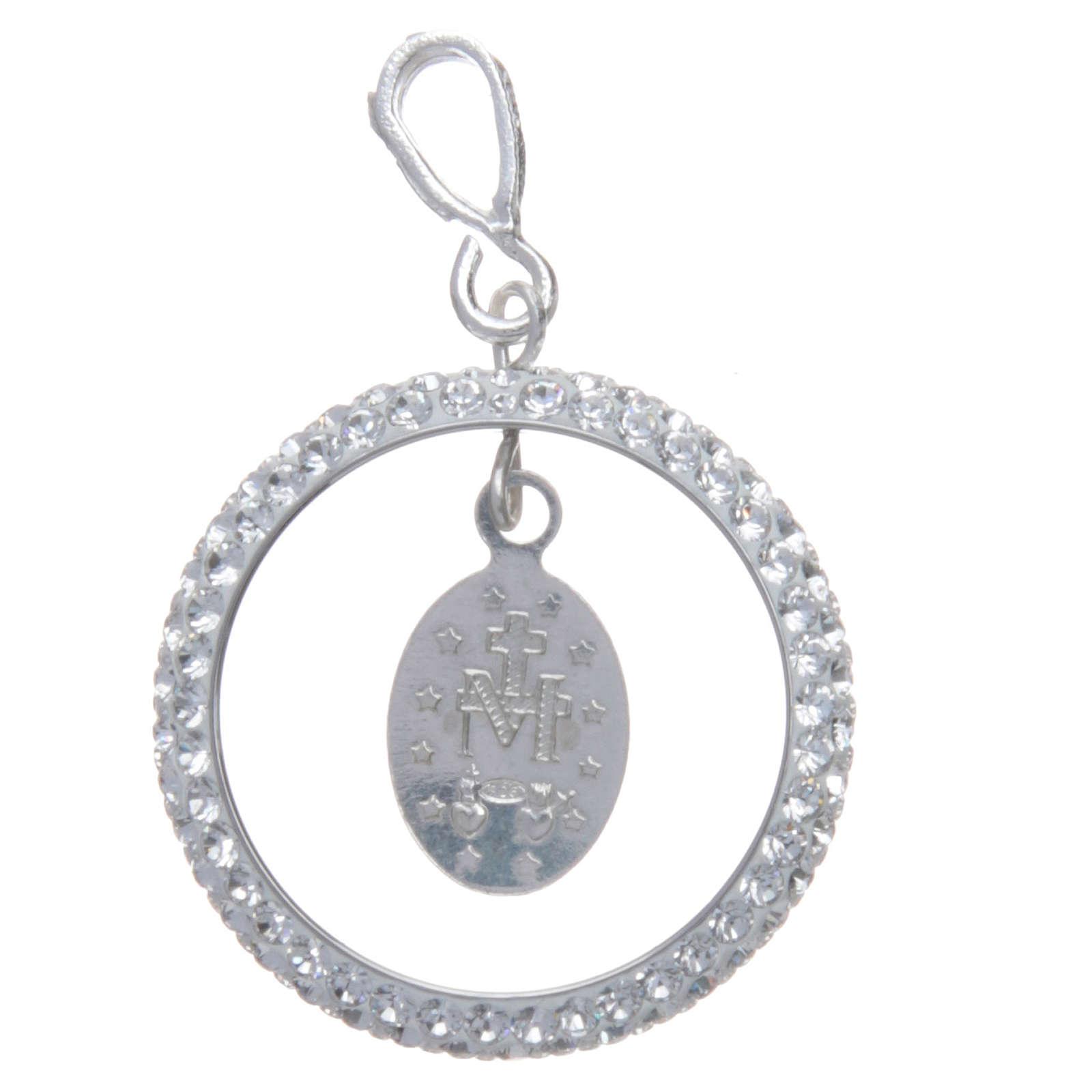 Pendente cerchio pavè Swarovski e Medaglia Miracolosa Arg. 925 4
