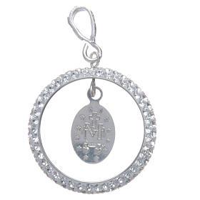 Pendente cerchio pavè Swarovski e Medaglia Miracolosa Arg. 925 s2