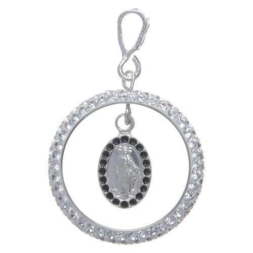Pendente cerchio pavè Swarovski e Medaglia Miracolosa Arg. 925 1