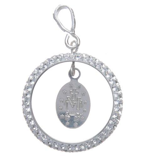 Pendente cerchio pavè Swarovski e Medaglia Miracolosa Arg. 925 2