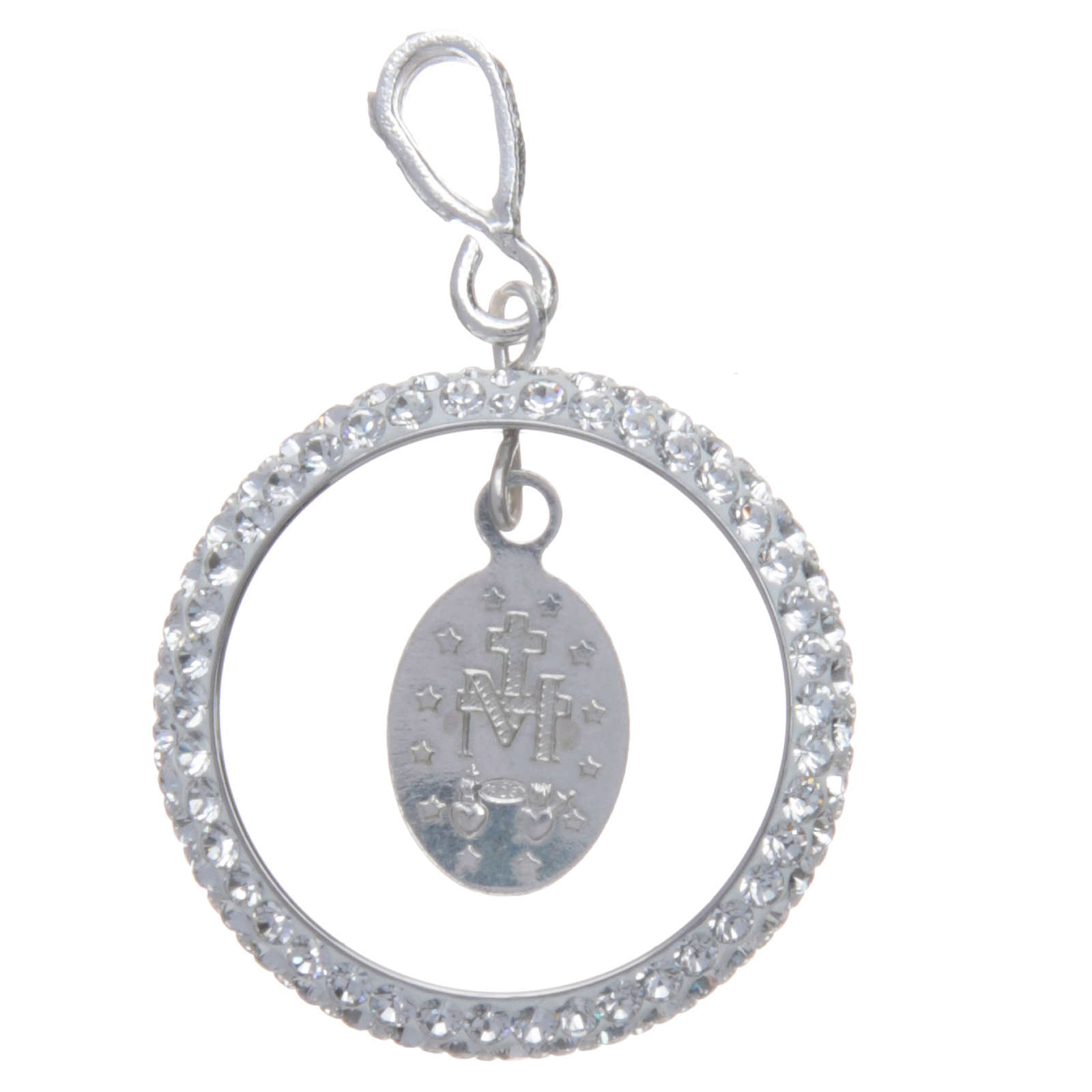Charm With Sett Ring And Miraculous Medal In Sterling Silver