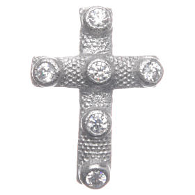 Croce pendente Argento 925 e zirconi bianchi 2x1,5 cm s1