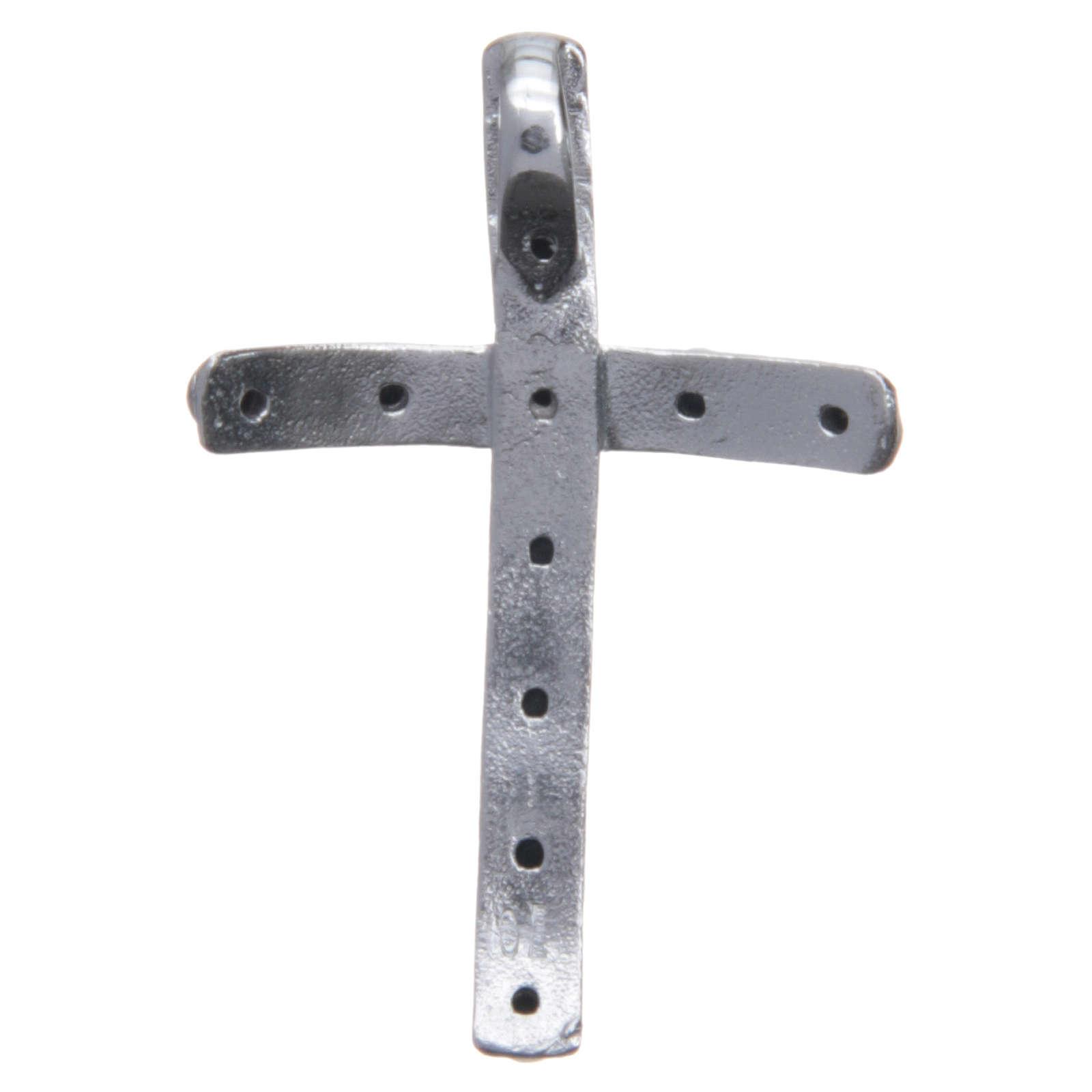 Croix en argent 925 et cristaux noirs 4x2,5 cm 4
