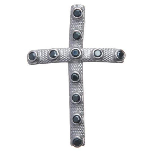 Croix en argent 925 et cristaux noirs 4x2,5 cm 1