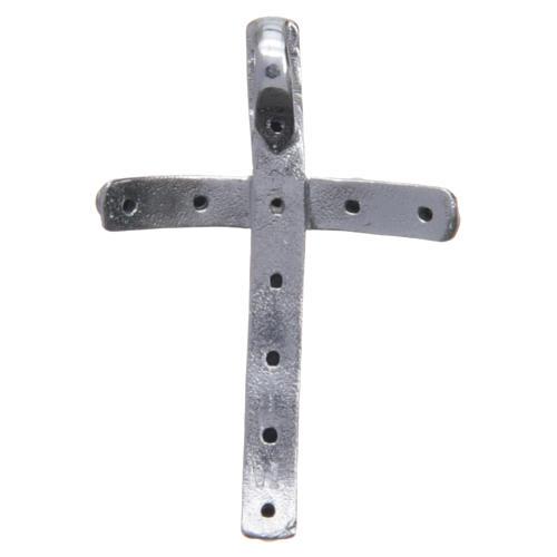 Croix en argent 925 et cristaux noirs 4x2,5 cm 2