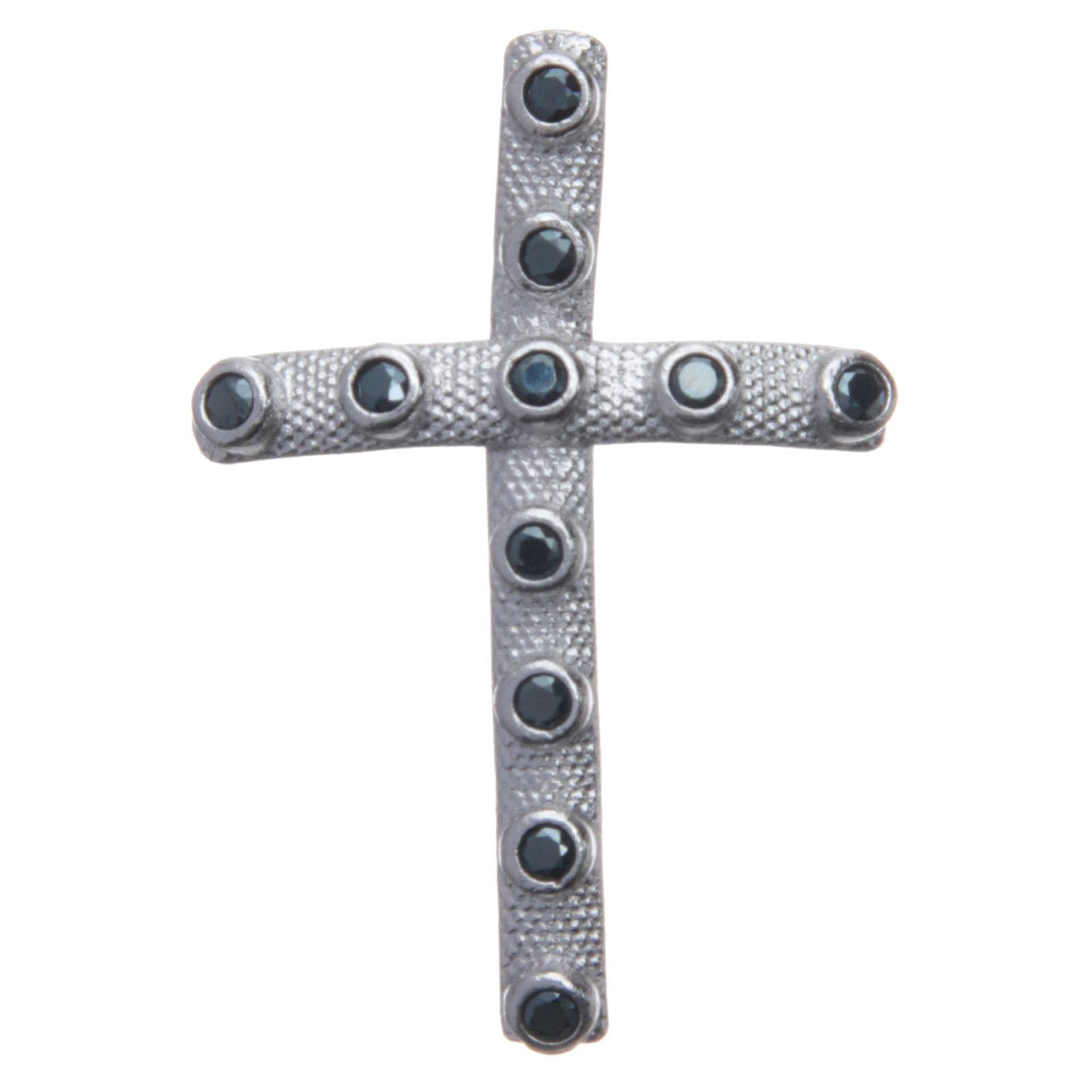 Croce in Argento 925 e zirconi neri 4x2,5 cm 4